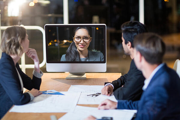 Business team having video conference in the conference room-1